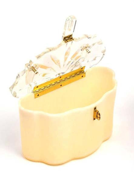 1950s Scalloped Cream Pearlized and Clear Lucite Purse