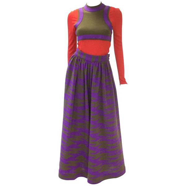 1960s Rudi Gernreich Red-Purple-Olive Graphic Top and Culottes Set