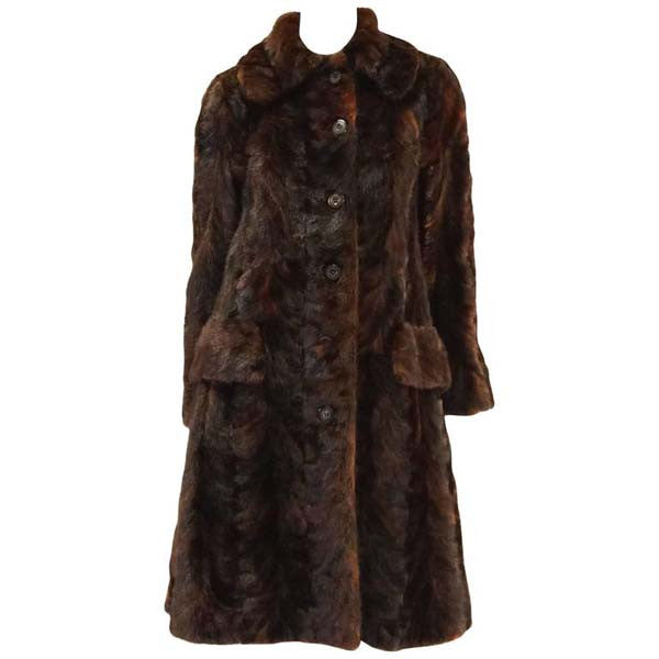 1980's Oscar de la Renta Multi Hued Brown Sable Fur Coat