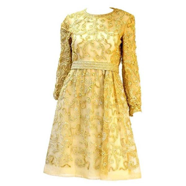 1966 Malcom Star Embroidered Gold Coctail Dress