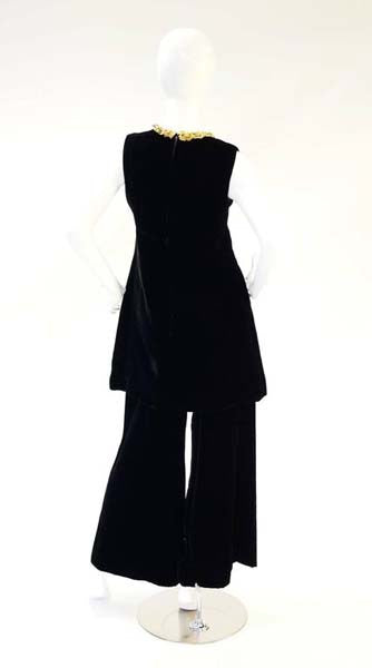 1960s Black Velvet Tunic and Pants Set with Gold Neck Trim