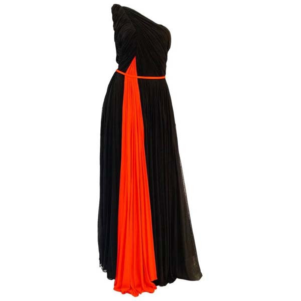 Historically Significant 1940s Madame Gres Grecian Goddess Silk Knit Gown in Black and Red