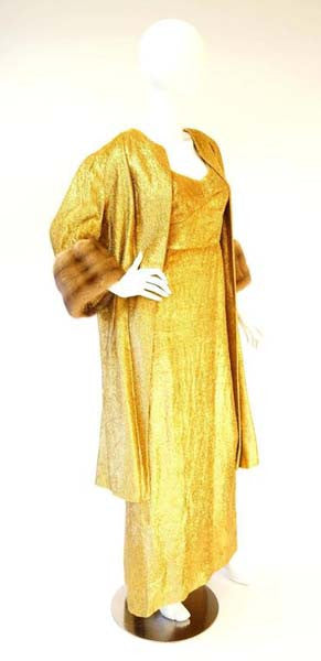 Rare Norman Hartnell Gold Lame and Mink Dress and Coat