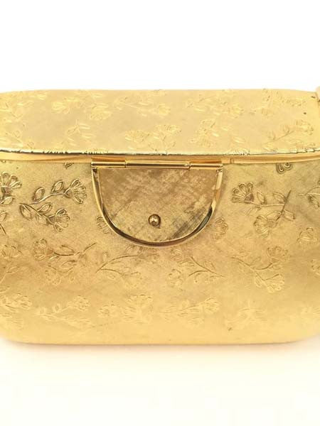 Excellent 1970s Rosenfeld Gold Floral Evening Purse