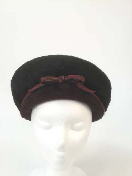 5185ac51927 1950s Elsa Schiaparelli Red and Black Felt Eastern Hat - MRS Couture