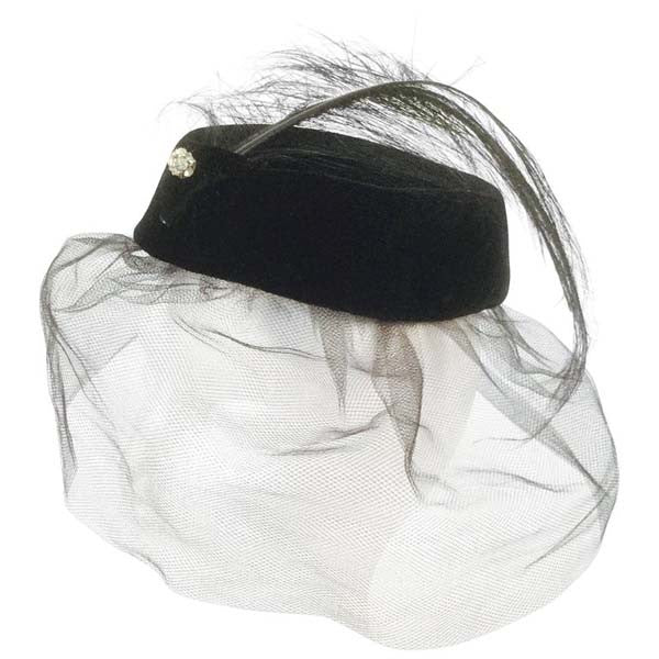 1950s Miss Sally Victor Black Velvet Rhinestone Feather Pillbox Hat