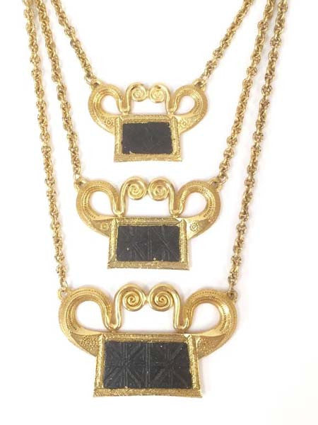 Fantastic 1970's Alexis Kirk Egyptian Revival Necklace