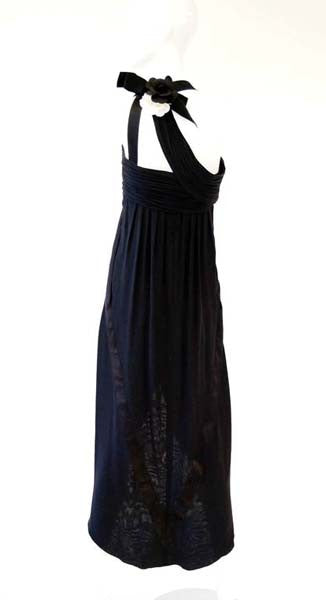 Early 1980s Chanel Silk Camellia Evening Dress