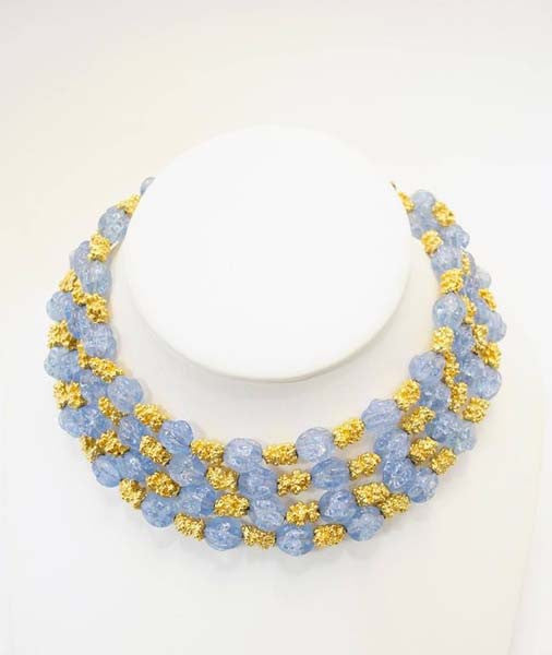 1950s Trifari Grand Parure Blue Rhinestone with Gold Tone Nugget Spacers