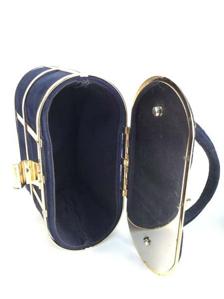 1960s Handbag Navy Blue Suede and Gold Cage Box Purse
