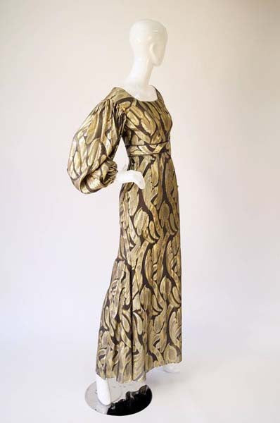Vintage Chocolate Brown and Gold Abstract Floral Evening Dress