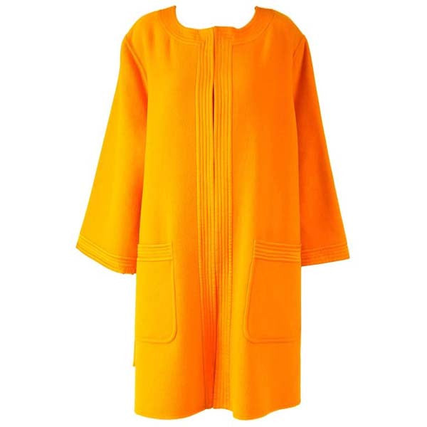 Vintage Valentino Tangerine-Orange Wool Cocoon Mod Coat