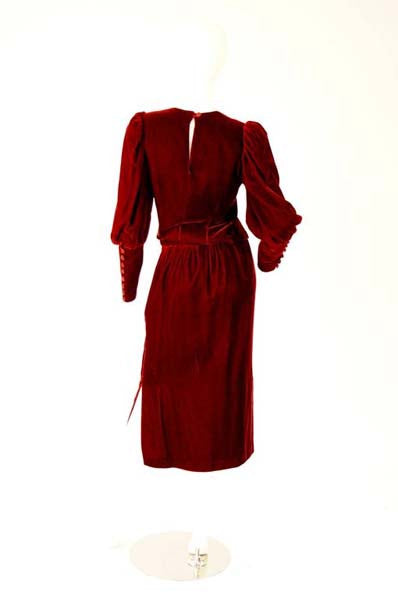 Early 1990s Red Wine Velvet Skirt Set With Dramatic Sleeves