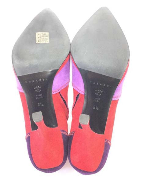 21st Century Casadei Italian Red Violet and Purple Suede Booties NIB
