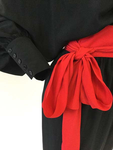 1970s Adele Simpson Black and Red Wrap Dress