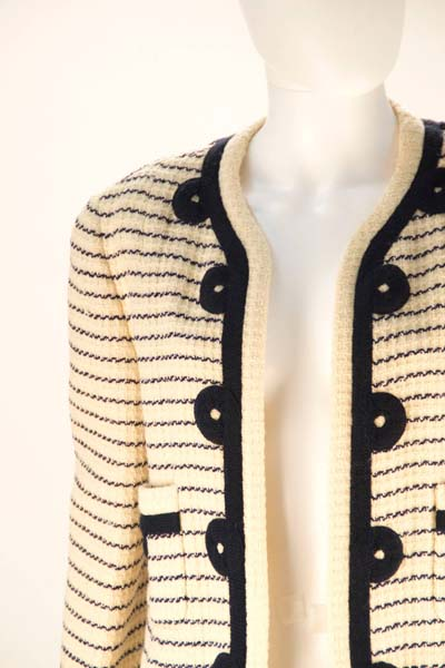 1980's Chanel Cream and Navy Stripped Jacket