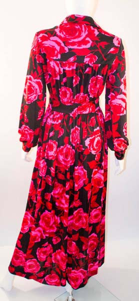 1970s Sakowitz Vibrant Red and Pink Maxi Dress