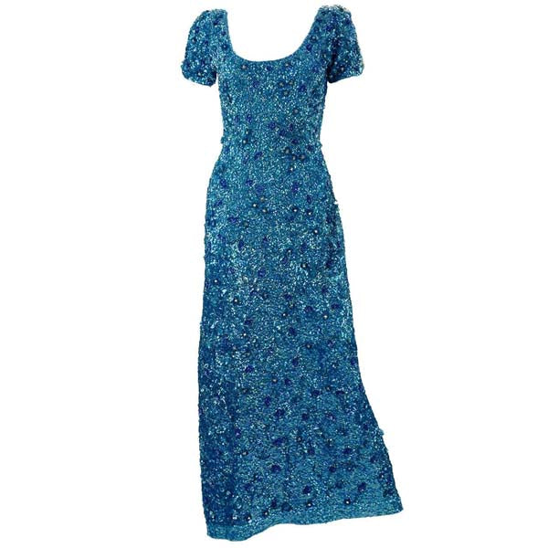 1960s Blue Beaded Gown
