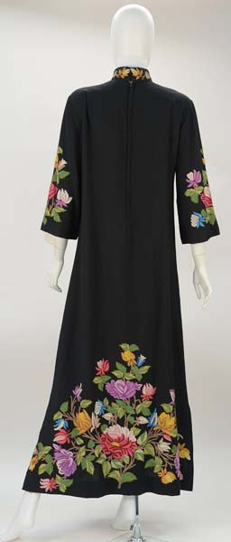 1950s Black Crewel Embroidered Dress