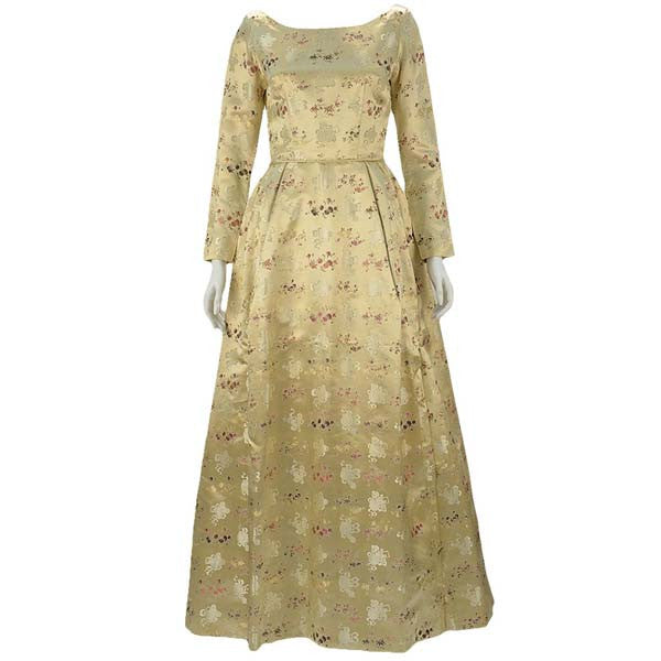 Gold Brocade Silk Satin Gown