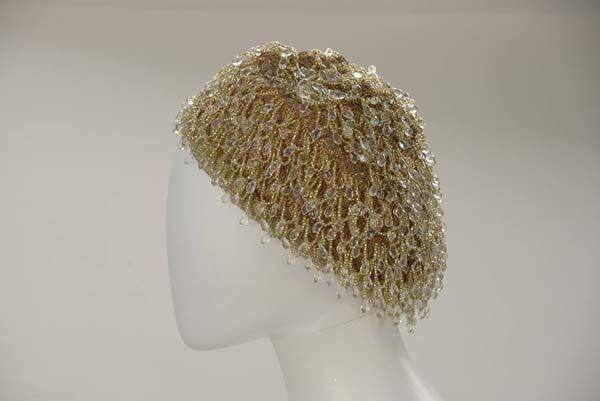 1960s Bob Green for Irene New York Gold and Crystal Chandelier Beret