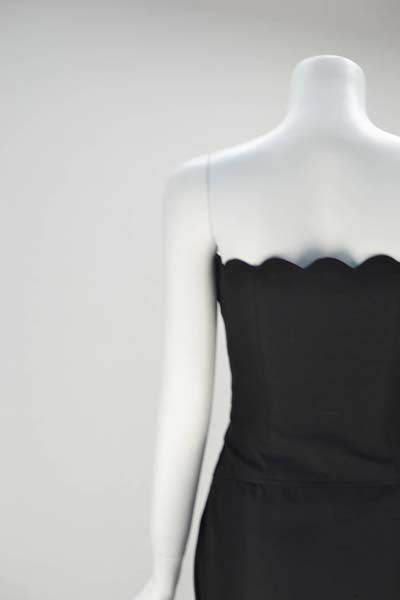 1980s Black Valentino Scalloped Edge Dress