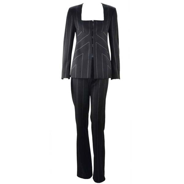 1990s Versace Black Reflective Pin Stripe Pantsuit