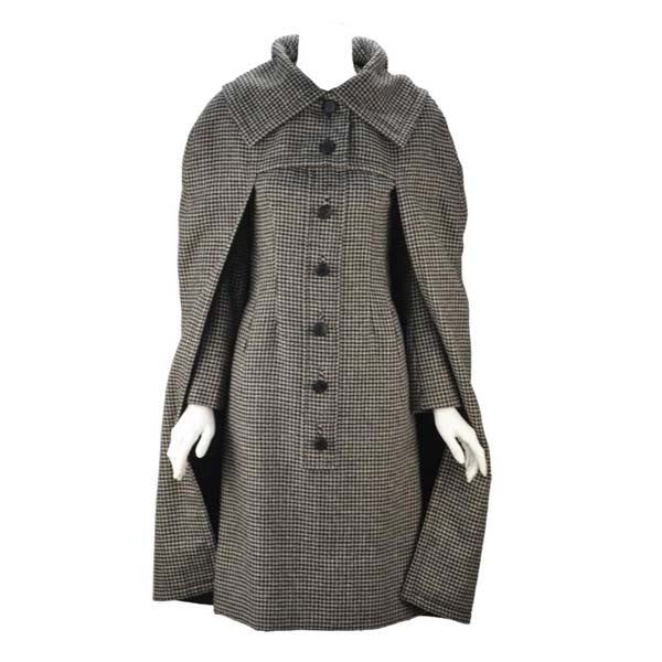 1950s Christian Dior Houndstooth Designer Cape and Dress Set