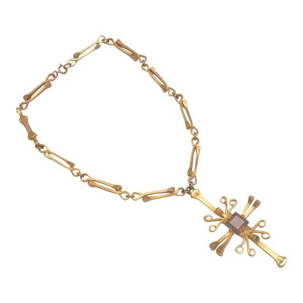 1960s Lawrence Vrba for Castlecliff Gold Box Nail Aztec/Cross & Chain Necklace