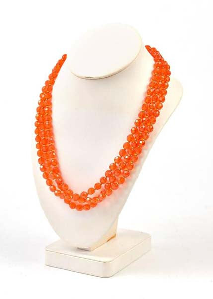 1960s Hattie Carnegie Tangerine Glass Bead Necklace and Earrings