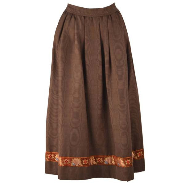 bc2e0df1e 1970s Yves Saint Laurent Chocolate Moire Satin Fall Skirt