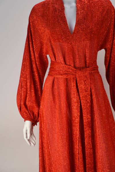 1970s Halston Red Metallic IV Dress