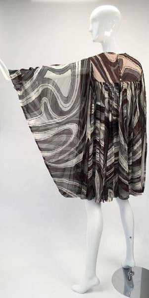 1960s Donald Brooks Swirl Print Batwing Dress