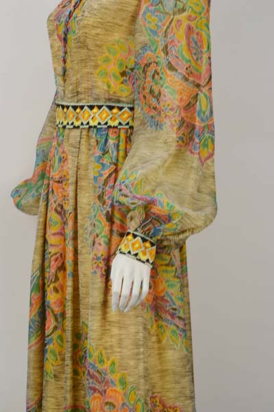 1970s Yellow Multi Print Embroidered Gown