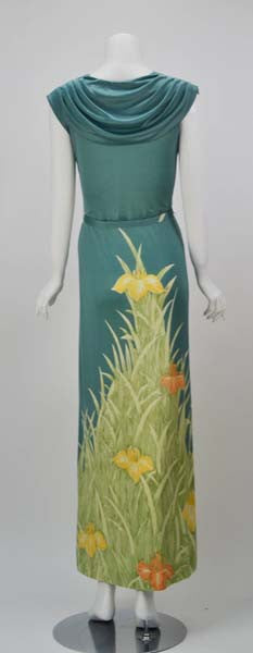 1970s Mac Tac for Leonard Sunshine Louisiana Iris Print Maxi Dress