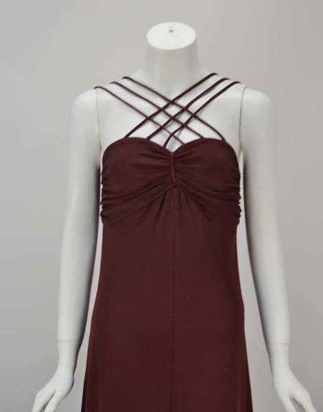 1970s Joy Stevens Criss Cross Strap Dress