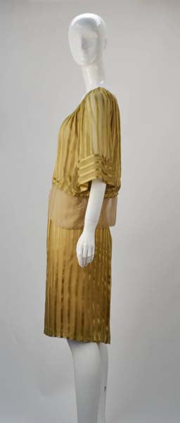 1970s Mollie Parnis Gold Sheer Ensemble