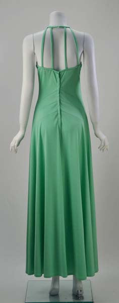1970s Gillian Paul Mint Green Caged Strap Dress