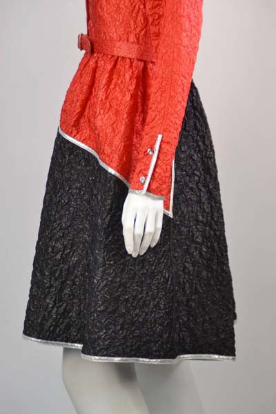 1970s Geoffrey Beene Red & Black Metallic Dress