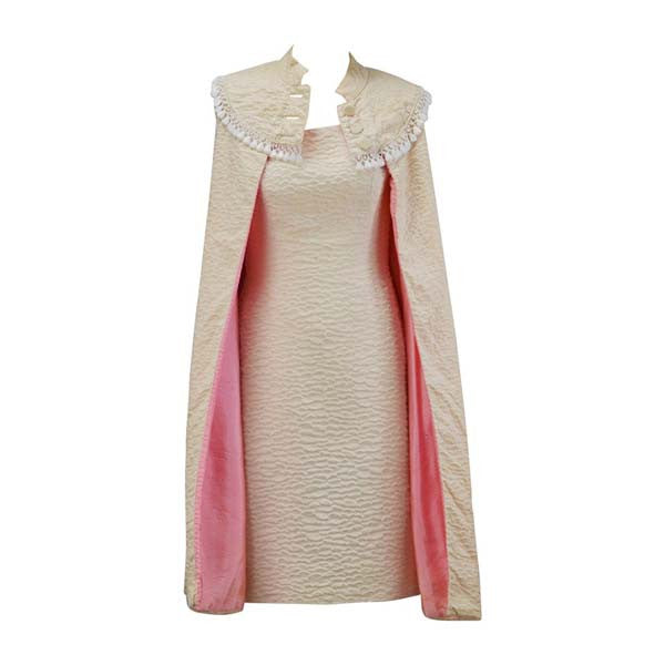 1960s Mr. Blackwell Ivory Textured Dress with Pink Lined Cape