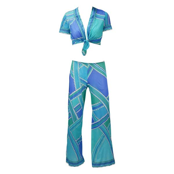 1960s Emilio Pucci Blue and Green Lounge Set