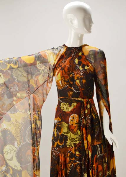 1970s Stavropoulos Silk Print Dress