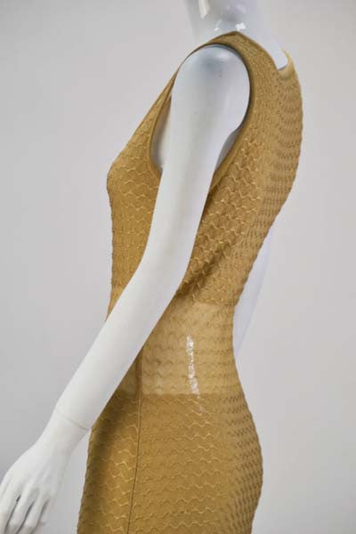 1980s Fendi Gold Sheer Panel Dress