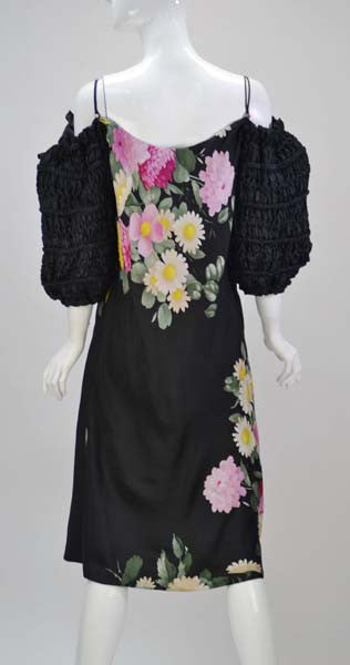 1980s Pauline Trigere Off the Shoulder Silk Dress