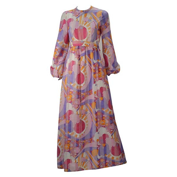 1960s Rodrigues Vibrant Multi Color Print Dress
