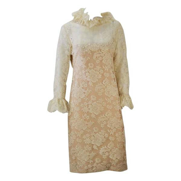 1960s Bill Blass for Maurice Rentner Ivory Chantilly Lace Ruffle Dress