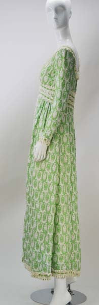 1970s Lillie Rubin Green and White Lace Dress