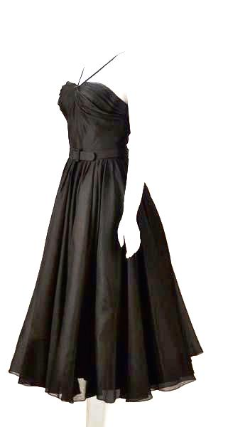Rare 1950s Traina-Norell Black Halter Day Dress