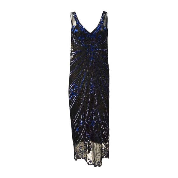 1920s Black Net Blue Sequin and Beaded Flapper Dress