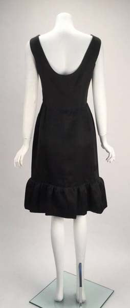 1960s Balenciaga Black Silk Couture Cocktail Dress
